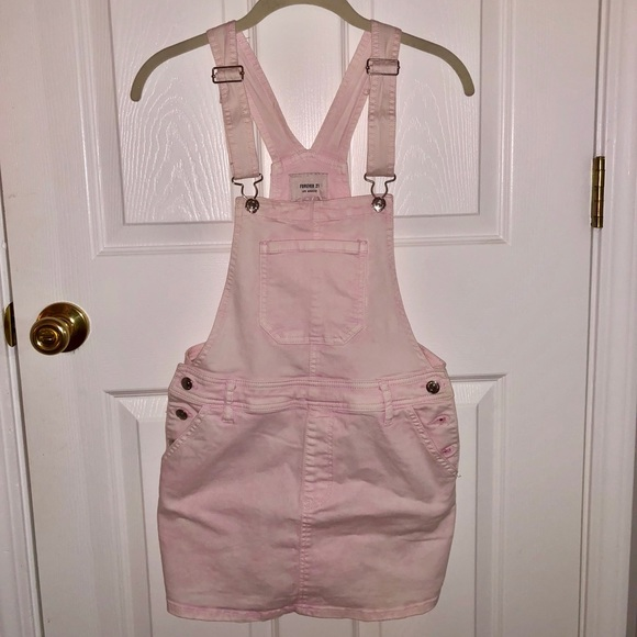 655493be66 Forever 21 Other - Forever 21 Pink Jean Skirt Overalls